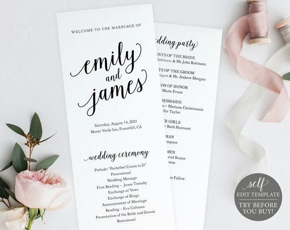 Wedding Program Template, TRY BEFORE You BUY, 100% Editable Instant Download, Modern Script