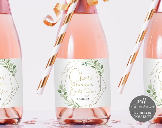 Mini Champagne Label Template, Editable Printable Instant Download, Greenery & Gold, Demo Available, Templett