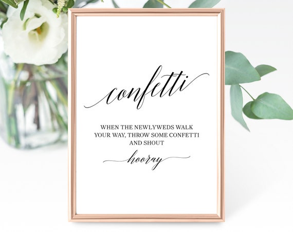 Confetti Sign Template, Printable Wedding Confetti Sign, Wedding Confetti Send Off, Wedding Confetti Sign, PDF Instant Download, MM07-1B