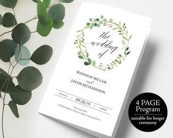 Greenery Wedding Program, Extended Program, Wedding Program Template, Printable Program, Folded Program, PDF Instant Download, MM07-1