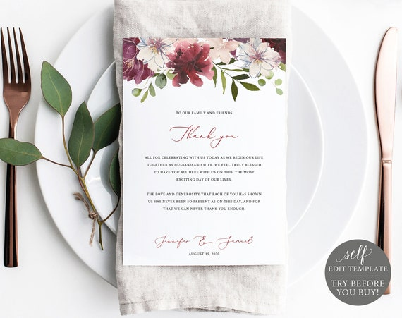 Thank You Card Template, TRY BEFORE You BUY, 100% Editable Instant Download, Printable Thank You Note, 5x7, Burgundy Floral Wedding