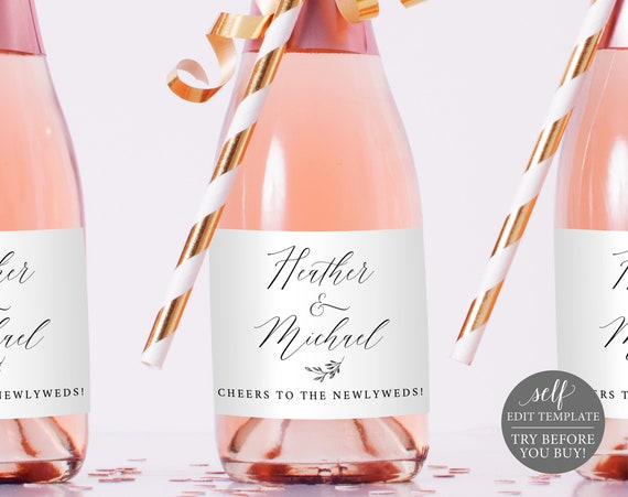 Mini Champagne Bottle Label Template, Free Demo Available, Editable Instant Download, Delicate Script