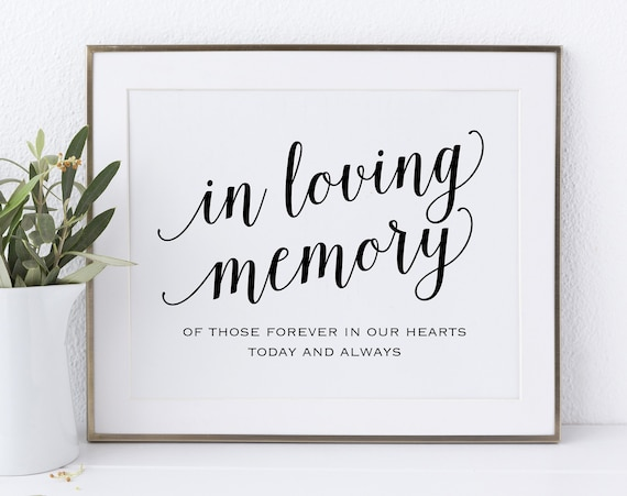 In Loving Memory Sign, In Our Hearts, Wedding Sign, Memorial Sign, Loving Memory Sign, Wedding Printable, PDF Instant Download, MM01-1