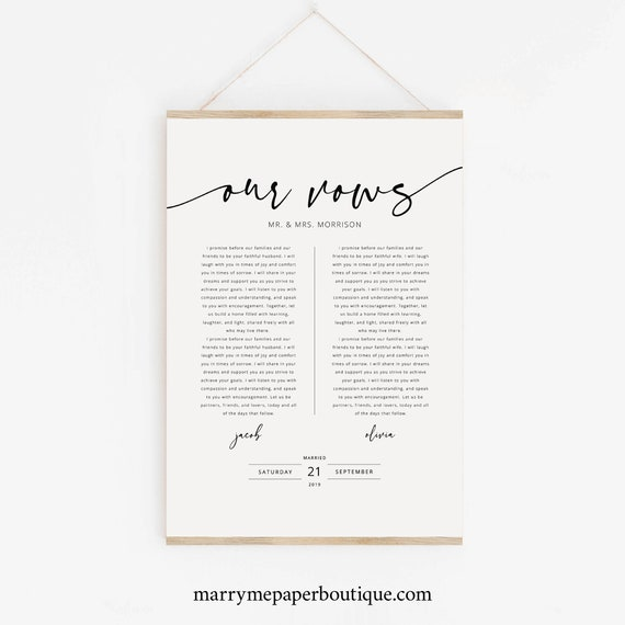 Wedding Vows First Anniversary Gift Template, Poster Size, Wedding Vows Wall Art, Printable, Templett Instant Download, Try Before Purchase