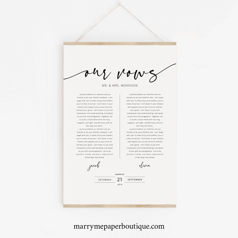 Wedding Vows First Anniversary Gift Template Poster Size image 0