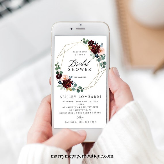 Bridal Shower Text Invitation Template, Burgundy Floral, Digital Bridal Shower Text Invite, Editable, Templett INSTANT Download