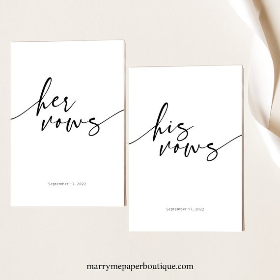 Wedding Vows Cards Template, Modern Calligraphy, Modern Vows Cards Printable, Fully Editable, Templett INSTANT Download