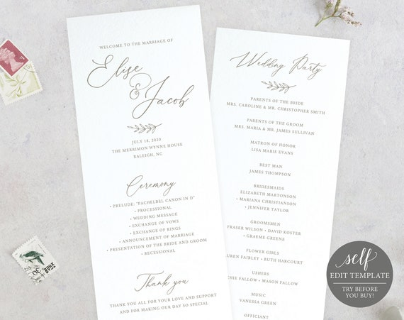 Wedding Program Template, 100% Editable, Instant Download, Ceremony Program Printable, Order of Service, Calligraphy, TRY BEFORE You BUY