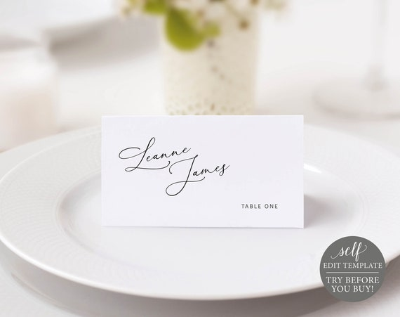 Place Card Template, Minimalist Portrait, Editable & Printable Instant Download, Templett