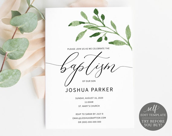 Baptism Invitation Template, TRY BEFORE You BUY, Printable Baptism Invite,  Editable, Greenery Leaf, Instant Download