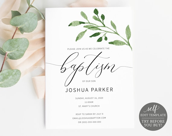 Baptism Invitation Template, TRY BEFORE You BUY, Printable Baptism Invite, 100% Editable, Greenery Leaf, Instant Download