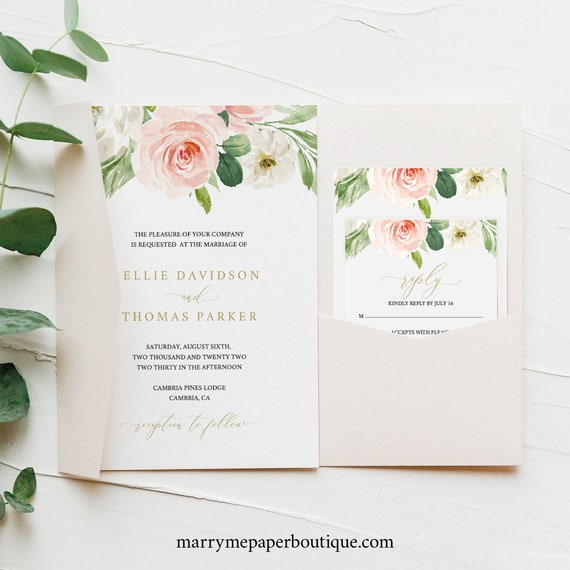 Wedding Invitation Template Set, Blush Floral, Pocket Style, Editable & Printable, Instant Download, Try Before You Buy