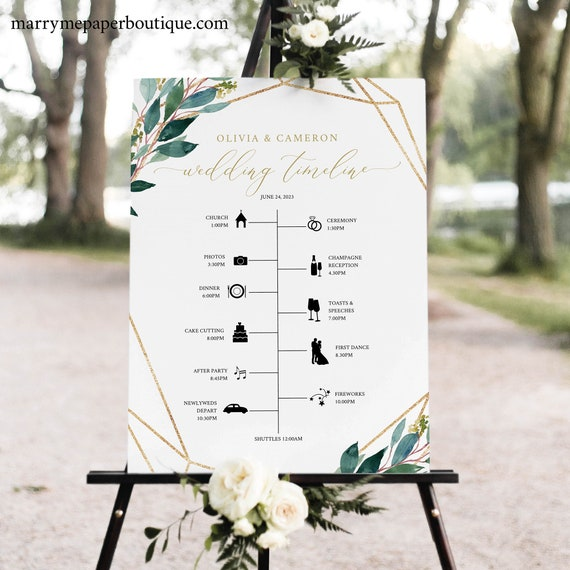 Wedding Order of Events Sign Template, Greenery Geometric, Timeline Printable, Try Before You Buy, Templett Instant Download