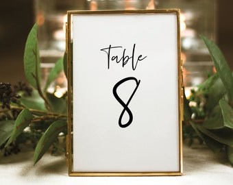 Minimalist Table Number Template, Modern Calligraphy Wedding, Printable Table Number Card, Editable, Templett INSTANT Download