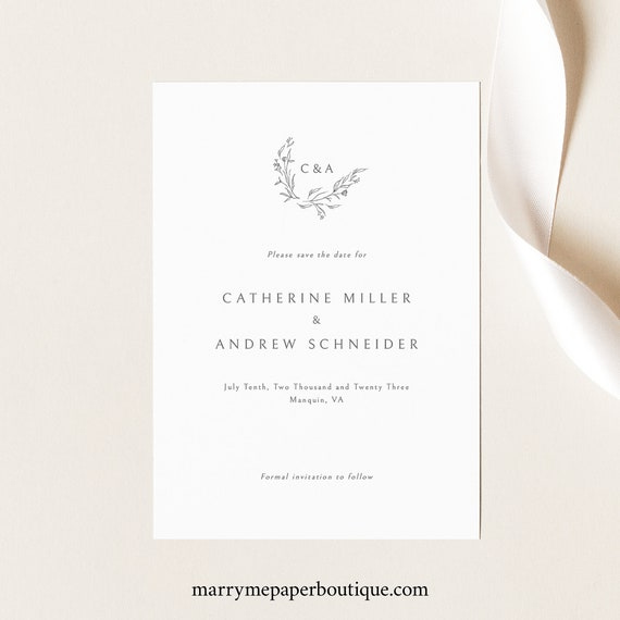 Save the Date Card Template, Elegant Monogram Design, Demo Available, Templett Instant Download, Editable & Printable