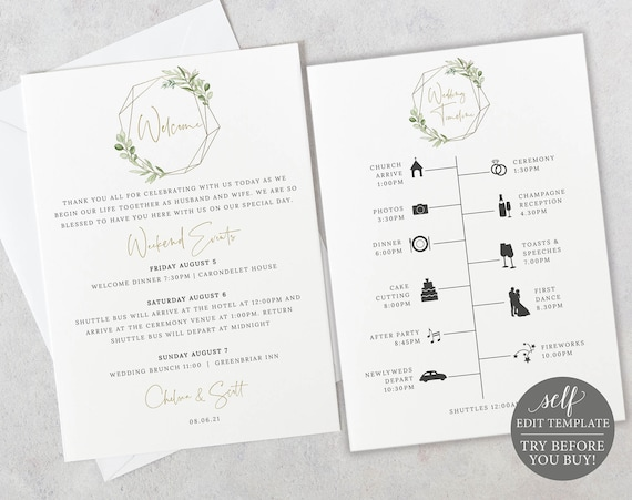 Wedding Itinerary Card Template, Demo Available, Editable Printable Instant Download, Templett, Greenery & Gold