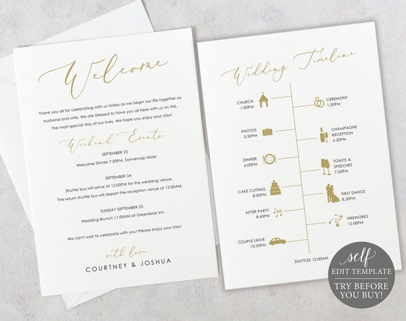 Wedding Itinerary & Welcome Card Template, Elegant Script Gold, Editable Printable Instant Download, Templett