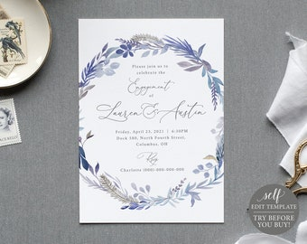 Engagement Party Invite Template, TRY BEFORE You BUY, Lavender Blue Floral,  Editable Instant Download