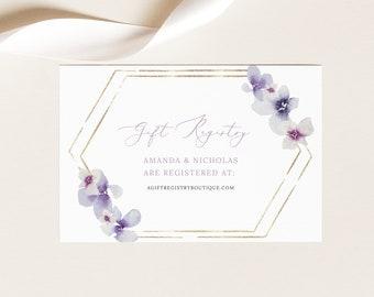 Gift Registry Card Template, Delicate Lilac Flowers, Wedding Registry Card, Printable, Editable, Purple Hydrangea, Templett INSTANT Download