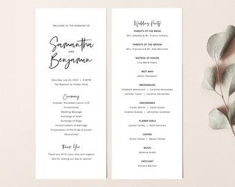 Minimalist Wedding Program Template, Modern Calligraphy, Editable Program, Printable, Templett INSTANT Download