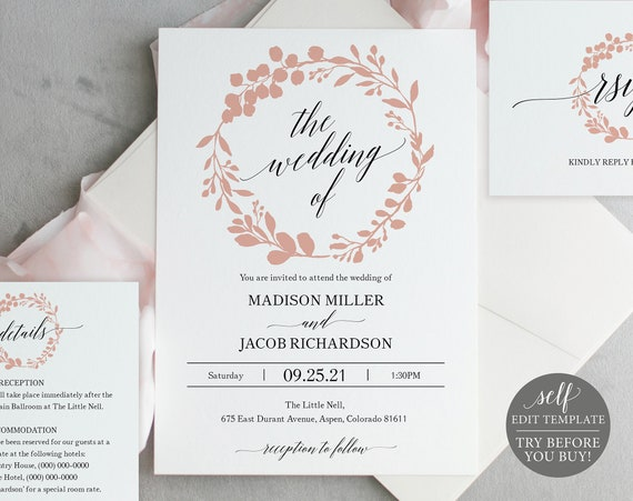 Wedding Invitation Templates, Rose Gold Wreath, Editable Instant Download, TRY BEFORE You BUY