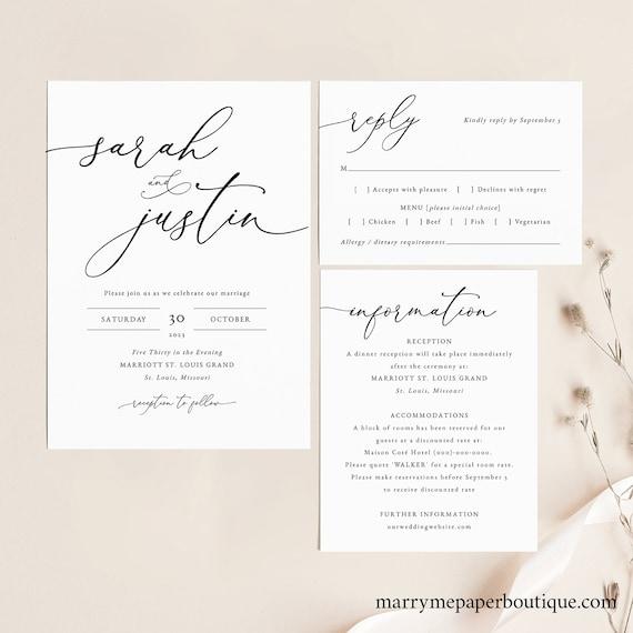 Classic Wedding Invitation Template Set, Elegant Wedding Invite Set, Printable, Fully Editable, Templett, RSVP, Details, INSTANT Download