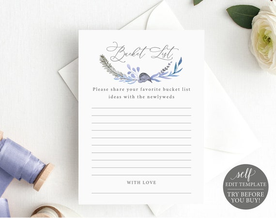 Bucket List Card Template, TRY BEFORE You BUY, Editable Instant Download, Lavender Blue