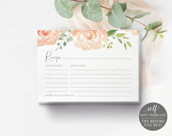 Recipe Card Template, TRY BEFORE You BUY, Editable Instant Download, Peach Floral