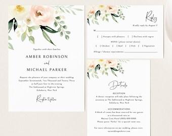 Wedding Invitation Template Set, Pink Floral Greenery, Ivory, Invite Set, Printable, Details, RSVP, Editable, Templett, INSTANT Download
