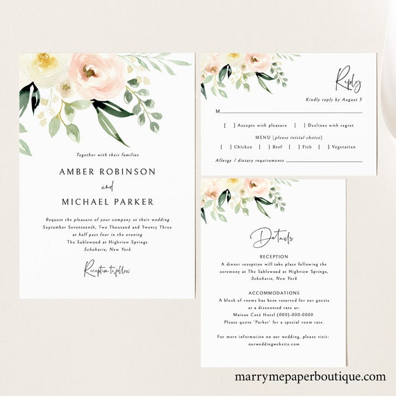 Wedding Invitation Template Set, Pink Floral Greenery, Ivory, Invite Set, Printable, Details, RSVP, Editable, Templett, INSTANT Download