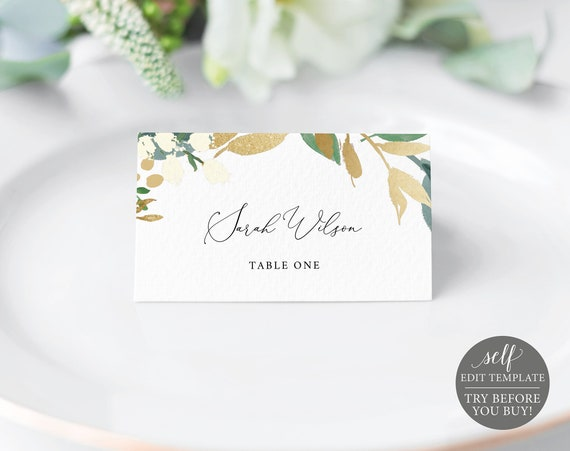 Place Card Template, TRY BEFORE You BUY, Editable Instant Download, Gold & Greenery