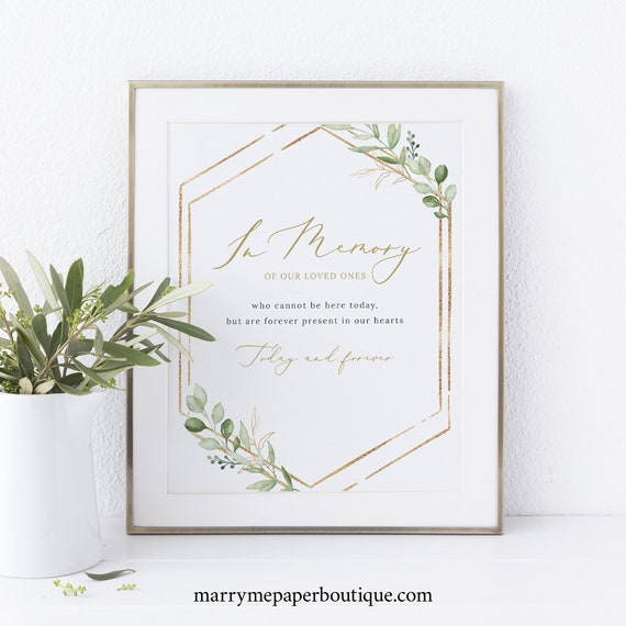 In Memory Sign Template, Greenery Hexagonal, Instant Download Non-Editable