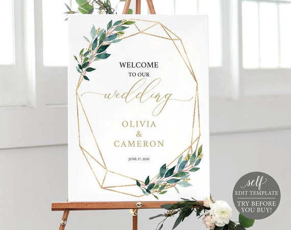 Wedding Welcome Sign Template, Greenery Geometric, Self Edit Instant Download, TRY BEFORE You BUY