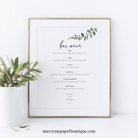 Eucalyptus Bar Menu Template, Greenery Wedding, Drinks Menu, Printable, Templett, Editable, INSTANT Download