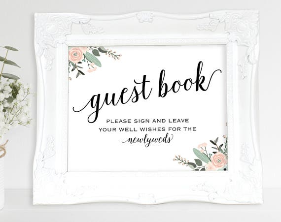 Floral Guest Book Sign, Please Sign our Guest Book, Guest Book Printable, Newlyweds, Wedding Printable Sign, PDF Instant Download, MM01-6