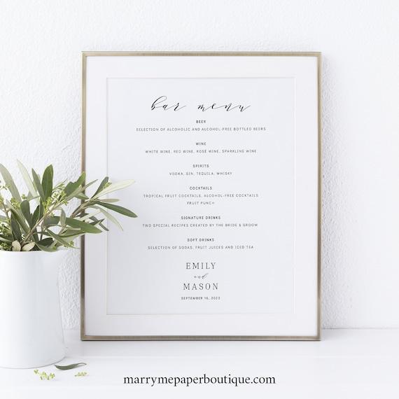 Bar Menu Sign Template, Elegant Script, TRY BEFORE You BUY,  Editable Instant Download