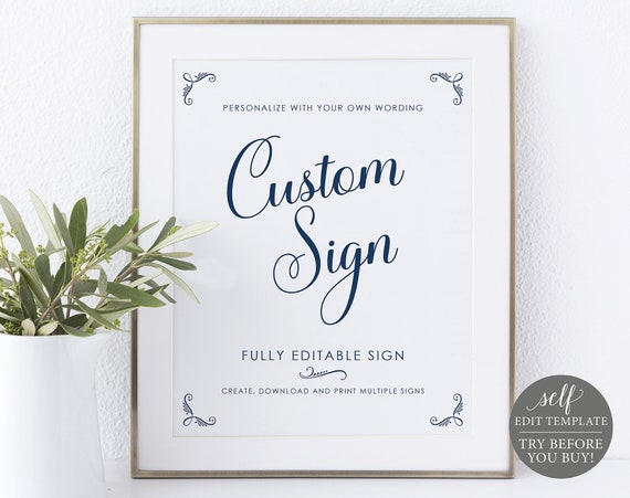 Create MULTIPLE Signs Template, Rustic Navy, TRY BEFORE You Buy, Editable Instant Download