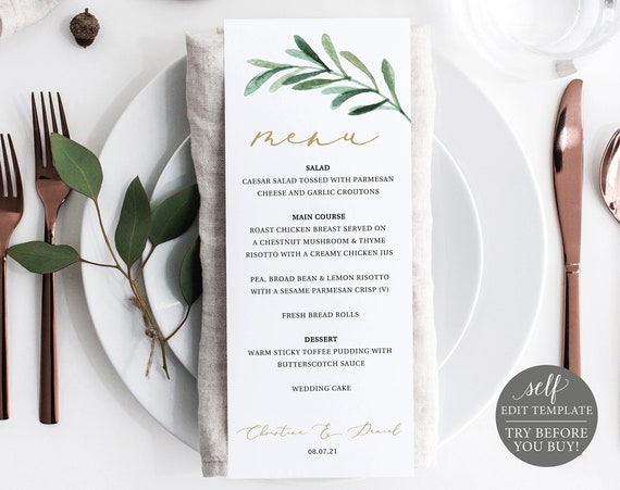 Menu Template, Editable Instant Download, TRY BEFORE You BUY, Greenery Olive Branch