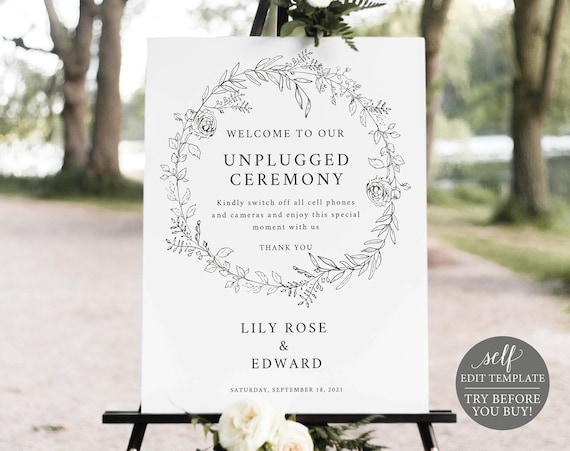 Unplugged Ceremony Sign Template, Botanical Floral, Editable & Printable Instant Download, Templett, TRY BEFORE You Buy