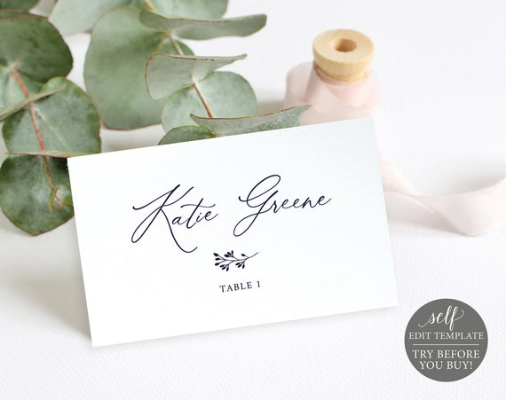 Navy Place Card Template, TRY BEFORE You BUY, Wedding Seating Card Printable, Instant Download, 100% Editable
