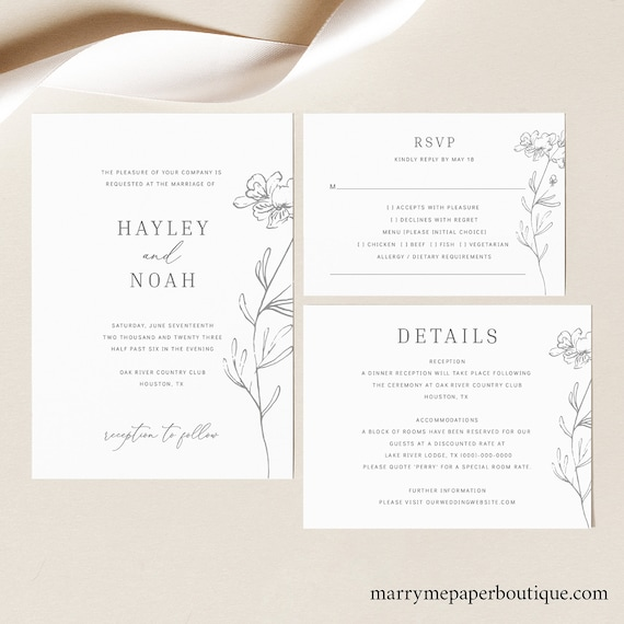 Wedding Invitation Set Templates, Elegant Botanical,  Editable Instant Download, TRY BEFORE You BUY