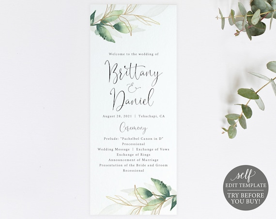 Wedding Program Template, Greenery & Gold, Editable Instant Download, FREE Demo Available