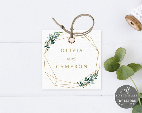 Monogram Tag Template, TRY BEFORE You BUY, Editable Instant Download, Greenery Geometric