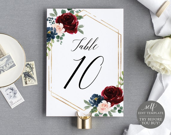 Table Number Sign Template, Demo Available, Templett Printable, Editable Instant Download, Burgundy Navy