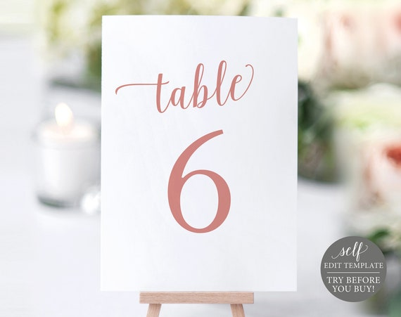 Table Number Template, 100% Editable Instant Download, Rose Gold Script, TRY BEFORE You BUY