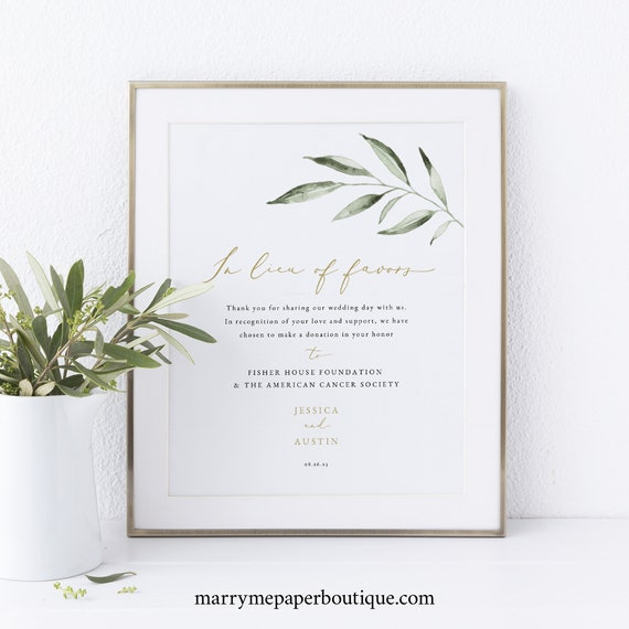 In Lieu of Favors Sign Template, FREE Demo Available, Greenery Olive, Editable Instant Download