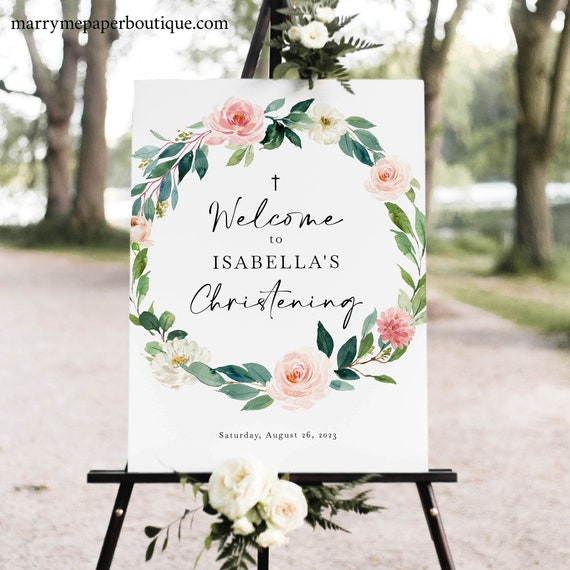 Christening Welcome Sign Template, Blush Floral Greenery, Printable Christening Sign, Templett INSTANT Download, Editable