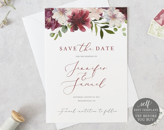 Save the Date Template, Fully Editable Instant Download, Burgundy Floral, TRY BEFORE You BUY