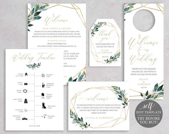 TRY BEFORE You BUY! Wedding Guest Welcome Bundle, Fully Editable Templates, Greenery, Instant Download