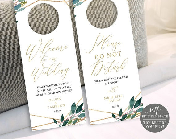 TRY BEFORE You BUY! Door Hanger, Fully Editable Wedding Template, Instant Download, Greenery